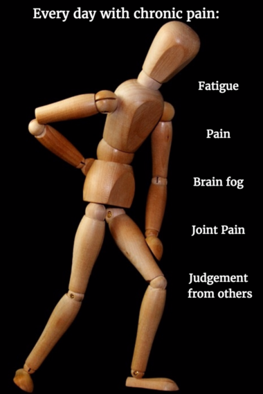 Everyday with chronic pain wood man stock homemade