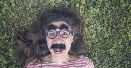 Woman mask funny mad crazy glasses silly joke stock