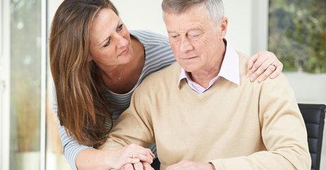 Older couple care man woman parent stock